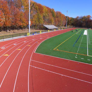 Moorestown High School Running Track in Fall