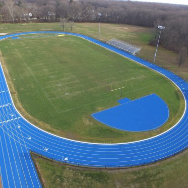 Aerial View Of Blue Running Track