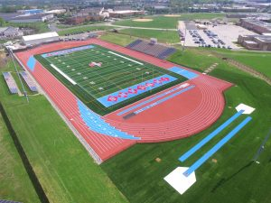 Aerial View of High School Football Field and Running Track